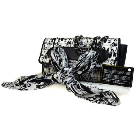 送料無料 【中古】 激レア 中美品 シャネル CHANEL チェーン ショルダーバッグ リボン スカーフ ブラック オフホワイト サテン レザー 52V960