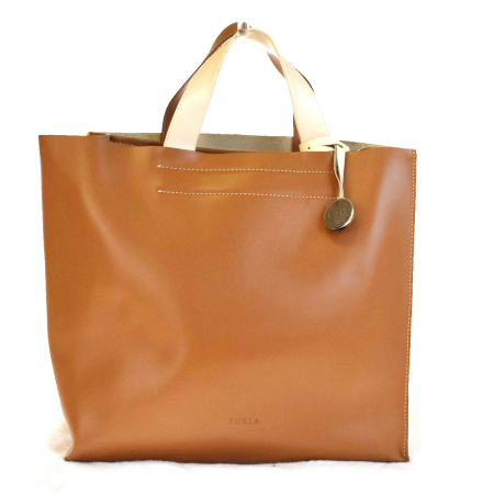 送料無料 【中古】 フルラ FURLA トートバッグ ハンドバッグ ブラウン アイボリー フルレザー 保存袋付き 01V2218