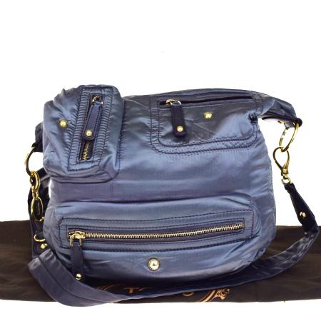 送料無料 【中古】 トッズ TOD'S ショルダーバッグ メタリック パープル ナイロン レザー 保存袋付き 09V2470