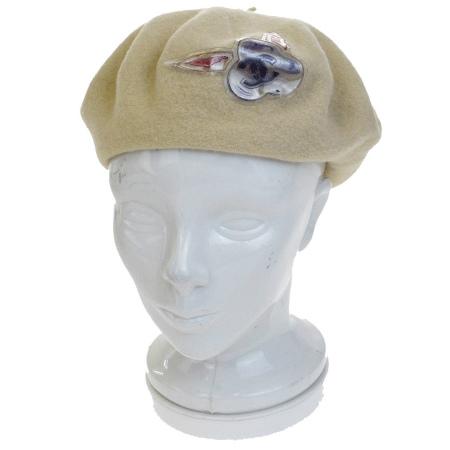 送料無料 【中古】 シャネル CHANEL ベレー帽 帽子 ココマーク アイボリー ウール 61B821
