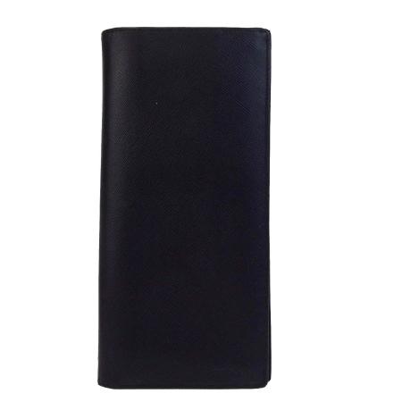 送料無料 【中古】 プラダ PRADA 二つ折り 長財布 ブラック レザー 04V1040