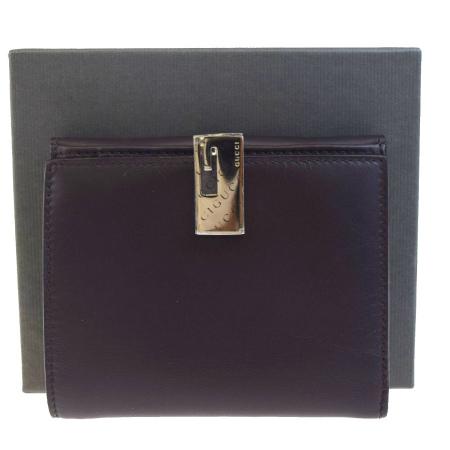 送料無料 【中古】 グッチ GUCCI 三つ折り 財布 ブラウン レザー 保存箱付き 05HA458
