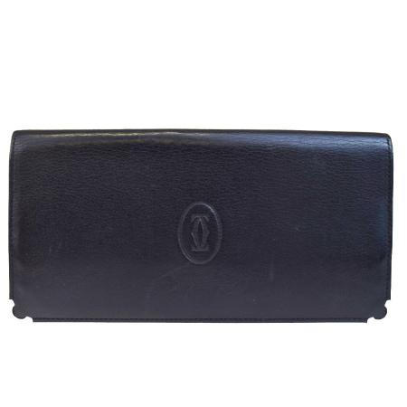 送料無料 【中古】 カルティエ Cartier 二つ折り 長財布 ブラック レザー 05B1965
