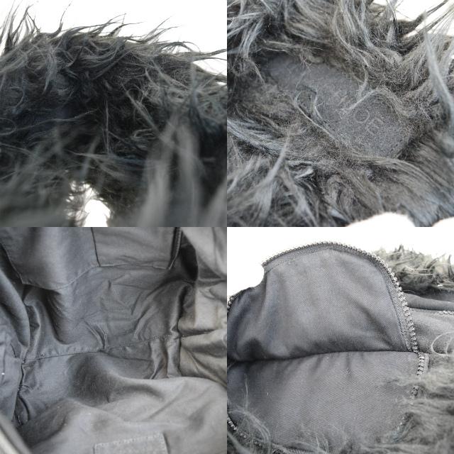 2b9c1487daa97 ... Sea by Kuroe SEE BY CHLOE Joey rider shoulder bag charm black fake fur  canvas suede