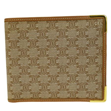 送料無料 【中古】 超美品 セリーヌ CELINE マカダム 二つ折り 財布 ブラウン PVC レザー 07B1147