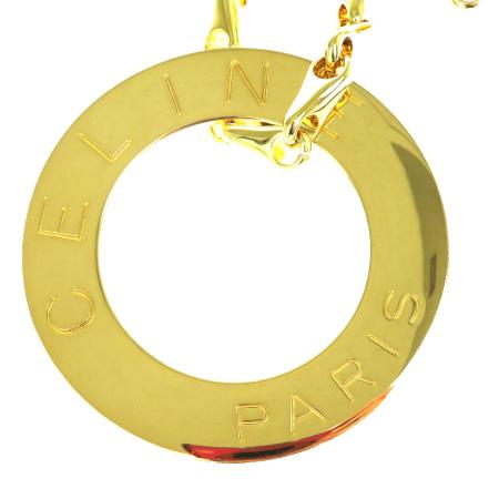 超美品 セリーヌ CELINE ジャンボ ネックレス ペンダント ゴールド メタル アクセサリー 68X001BQrEdxoeWC