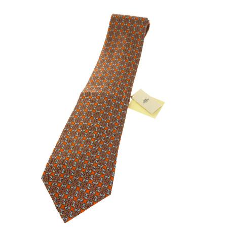 【新品】 エルメス HERMES ネクタイ オレンジ シルク 100% メンズ 02B1690