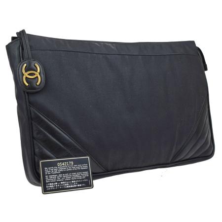 送料無料 【中古】 シャネル CHANEL クラッチバッグ ココマーク ブラック コーティングキャンバス レザー 1980年代 ヴィンテージ 05L089