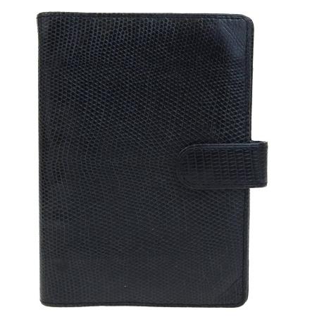 【中古】 ルイヴィトン LOUIS VUITTON アジェンダ PM 手帳カバー ブラック リザード レザー 04B912