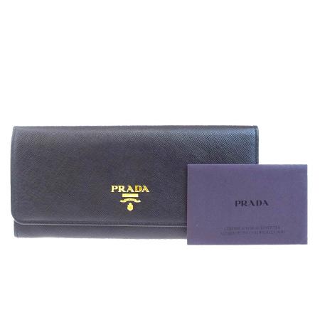 送料無料 【中古】 美品 プラダ PRADA 二つ折り 長財布 ブラック レザー 68BA467