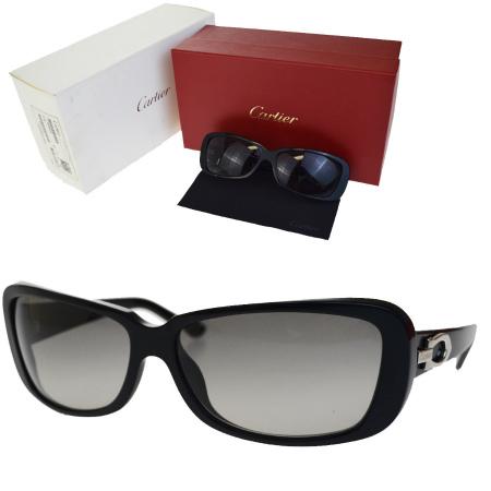 送料無料 【中古】 カルティエ Cartier サングラス ブラック シルバー プラスチック メガネ拭き 保存箱付き 69BA738