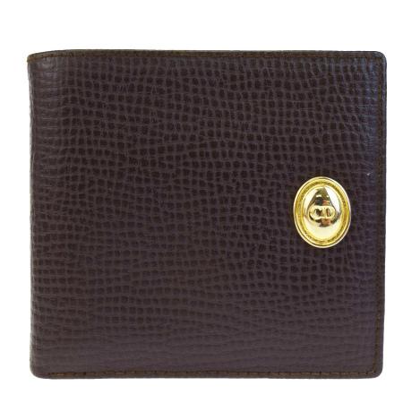 送料無料 【中古】 美品 クリスチャンディオール Christian Dior 二つ折り 財布 ブラウン レザー 01BA330