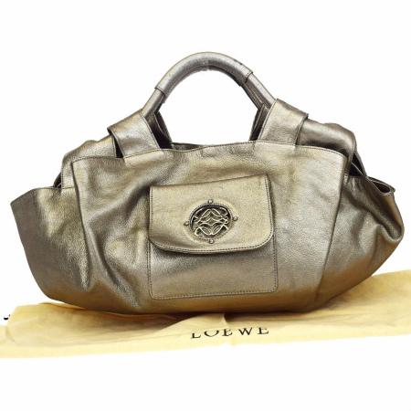 送料無料 【中古】 中美品 ロエベ LOEWE アイレ ハンドバッグ ブロンズ レザー 保存袋付き 31U787
