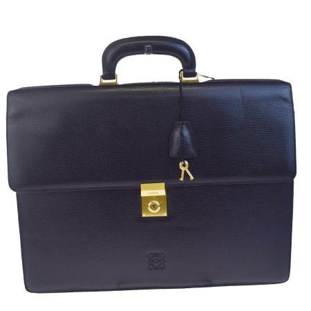送料無料 【中古】 中美品 ロエベ LOEWE ビジネスバッグ ブリーフケース ハンドバッグ 書類かばん ブラック レザー メンズ 62EB680