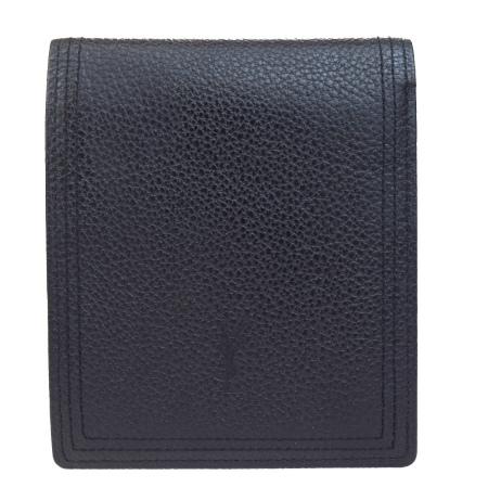 送料無料 【中古】 外美品 イヴサンローラン YVES SAINT LAURENT 二つ折り 財布 ブラック レザー 08B315