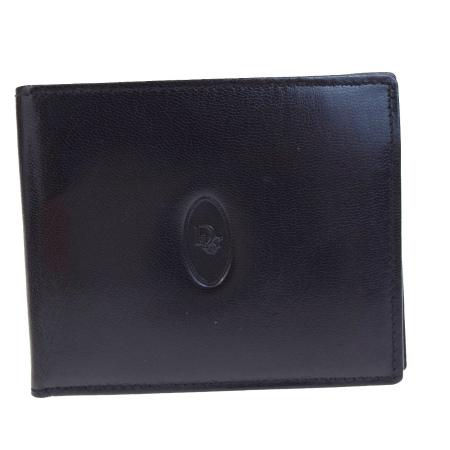 送料無料 【中古】 美品 クリスチャンディオール Christian Dior 二つ折り 札入れ カード入れ 財布 ブラック レザー カードケース付き 05B1775
