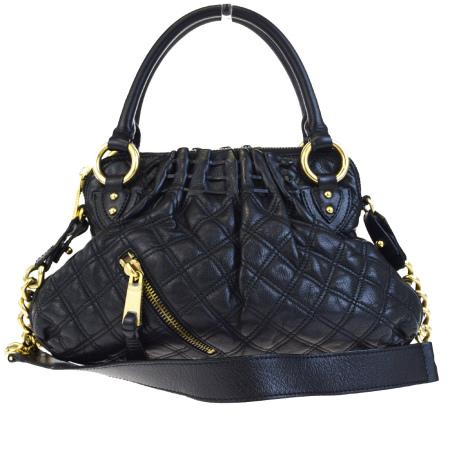 86b7db96be83 Mark Jacobs MARC JACOBS handbag chain shoulder quilting black gold leather  09HB321