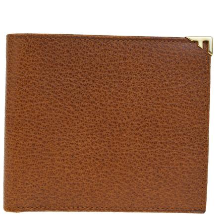 送料無料 【中古】 超美品 サルバトーレフェラガモ Salvatore Ferragamo 二つ折り 札入れ カード入れ 財布 ブラウン レザー メンズ 02BA992