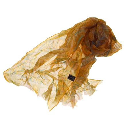 送料無料 【中古】 美品 エトロ ETRO ペイズリー スカーフ シースルー オレンジ シルク 100% 03BA283
