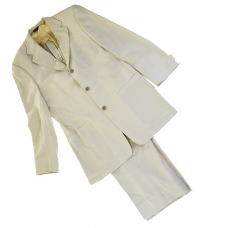 送料無料 【中古】 バーバリー BURBERRY RELAXED 三つボタン スーツ 服 ベージュ ウール 100% メンズ36 03HB584