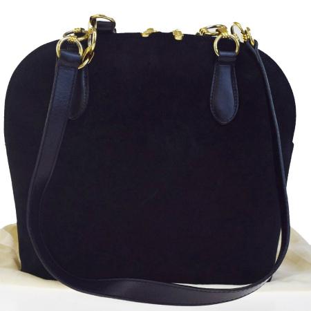 送料無料 【中古】 中美品 バリー BALLY ショルダーバッグ ブラック スエード レザー 保存袋付き 07EB993