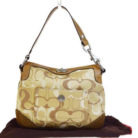 Middle beauty product coach COACH signature shoulder bag handbag beige  brown canvas suede leather 10141 03HB472 a22e991b47173