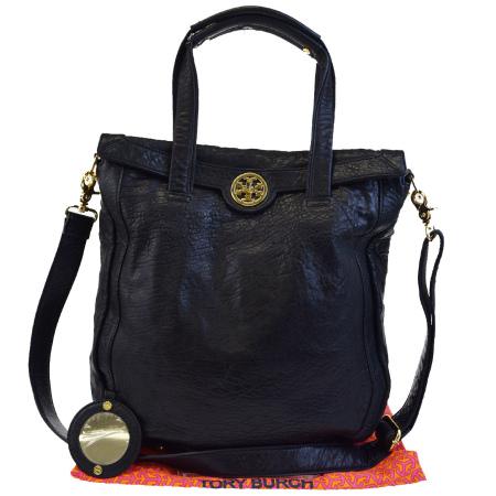 【中古】 トリーバーチ TORY BURCH ハンドバッグ ショルダーバッグ 2WAYバッグ ブラック レザー 保存袋付き 04BC480