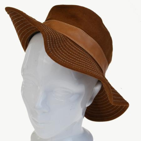 【中古】 超美品 エルメス HERMES ハット 帽子 ブラウン リネン レザー レディース57 60BC073