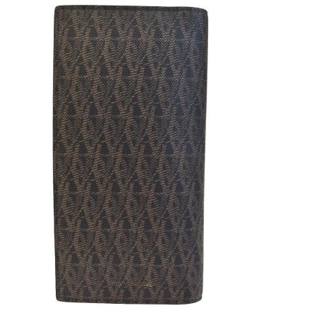 送料無料 【中古】 外美品 サンローラン SAINT LAURENT 二つ折り 長財布 ブラウン PVC レザー 66BC369