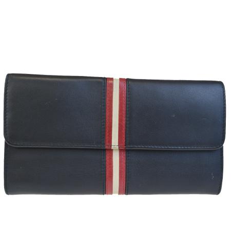 送料無料 【中古】 中美品 バリー BALLY 三つ折り 長財布 ブラック レッド アイボリー レザー 01BC363