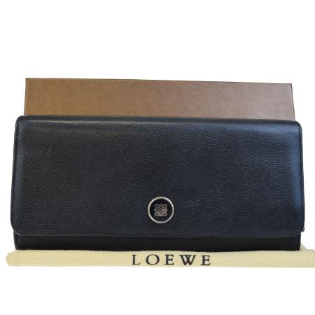 送料無料 【中古】 ロエベ LOEWE 二つ折り 長財布 ブラック レザー 保存袋 保存箱付き 05BC406