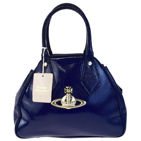 送料無料 【中古】 超美品 ヴィヴィアンウエストウッド Vivienne Westwood ハンドバッグ オーブ ブルー エナメル 04EC741