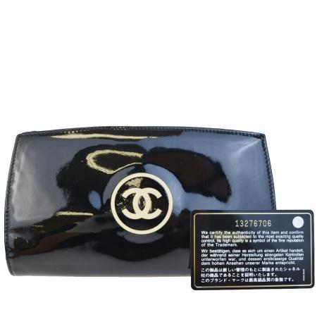 送料無料 【中古】 シャネル CHANEL 二つ折り 長財布 ココマーク ブラック エナメル 65BC057