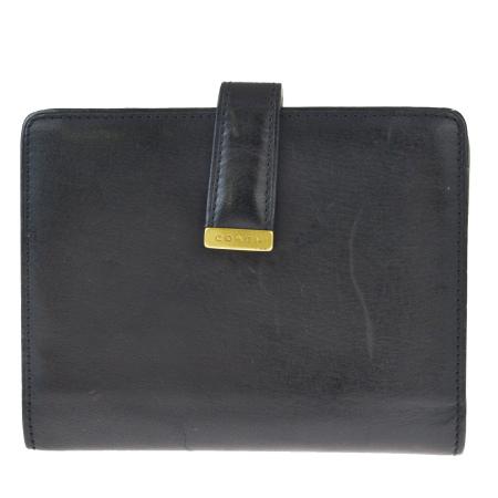 送料無料 【中古】 コーチ COACH 二つ折り 財布 がま口 ブラック ゴールド レザー 08HB676