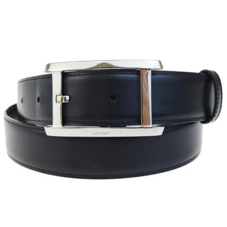 送料無料 【中古】 カルティエ Cartier ベルト バックル ブラック シルバー レザー メタル メンズ 60BC208
