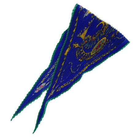 送料無料 【中古】 超美品 エルメス HERMES スカーフ ギャザー 宝石柄 ブルー シルク 100% 04EC957