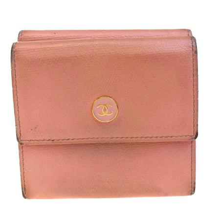 送料無料 【中古】 シャネル CHANEL 三つ折り 財布 Wホック ココマーク ピンク レザー 03EC251
