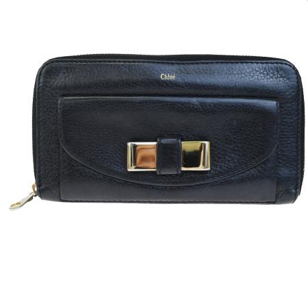 送料無料 【中古】 クロエ Chloe リリー ラウンドファスナー 長財布 リボン ブラック レザー 01BD682