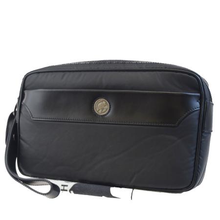 送料無料 【中古】 新型 未使用 ハンティングワールド HUNTING WORLD クラッチバッグ セカンド ブラック バチュークロス レザー 保存袋付き 66BD276