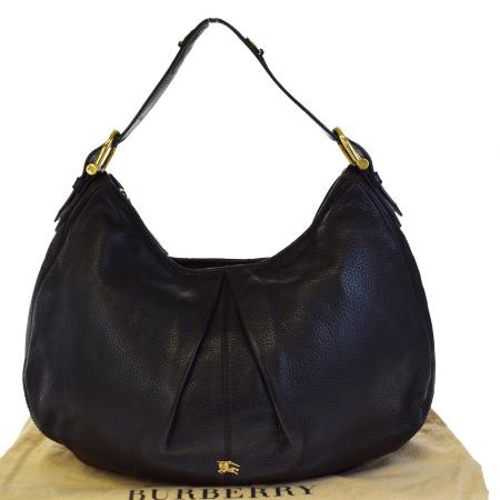送料無料 【中古】 バーバリー BURBERRY ショルダーバッグ ノバチェック ブラック レザー 保存袋付き 68BD577