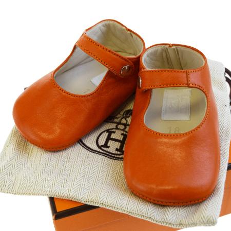 送料無料 【中古】 超美品 エルメス HERMES ベビーシューズ 靴 オレンジ レザー 18 保存袋 保存箱付き 07BD402