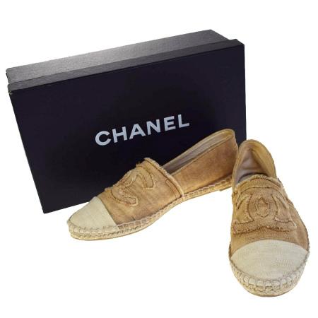【中古】 美品 シャネル CHANEL スニーカー 靴 ココマーク ベージュ リネン レディース 37 24cm 保存箱付き 39EC020