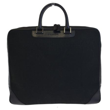 送料無料 【中古】 ジバンシー GIVENCHY ブリーフケース ビジネスバッグ 書類かばん ハンドバッグ ブラック キャンバス レザー 09EC925
