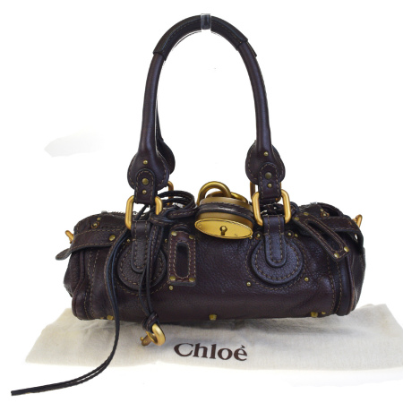 送料無料 【中古】 クロエ Chloe パディントン ショルダーバッグ ブラウン レザー パドロック 保存袋付き 04ED443