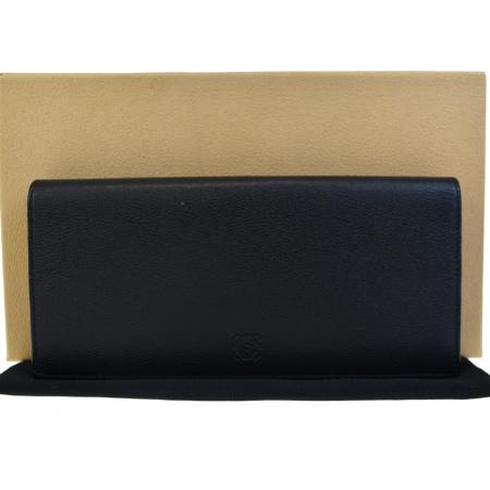 送料無料 【中古】 超美品 ロエベ LOEWE 二つ折り 長財布 ブラック ボルドーレッド レザー 保存袋 保存箱付き 61ED425