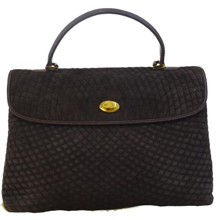 送料無料 【中古】 バリー BALLY ハンドバッグ ターンロック ブラウン スエード レザー 保存袋付き 02ED682