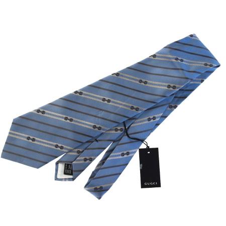 送料無料 【中古】 美品 グッチ GUCCI ネクタイ ホースビット柄 ブルー シルク 100% メンズ 08BE083