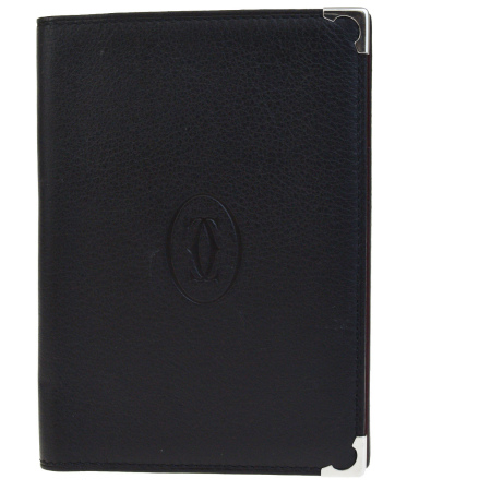 送料無料 【中古】 超美品 カルティエ Cartier 手帳カバー アジェンダ ブラック レザー 02BE401