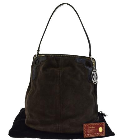 送料無料 【中古】 美品 カルティエ Cartier マルチェロ ショルダーバッグ ブラウン スエード パイソン 保存袋付き 36ED837