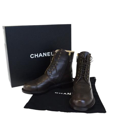 送料無料 【中古】 超美品 シャネル CHANEL ショートブーツ 靴 ココマーク ブラウン レザー レディース 38C 25cm 保存箱付き 94BD447